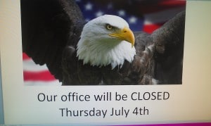 Office closed july 4th